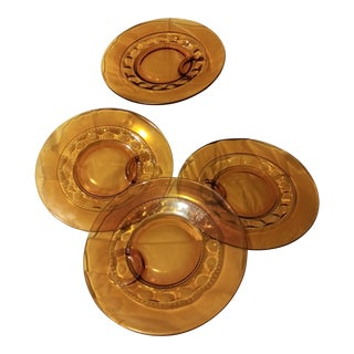 Indiana Glassware Amber Plates - Set of 4 For Sale