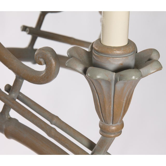 Serge Roche Style Plaster Chinoiserie Palm Chandelier - Image 7 of 7