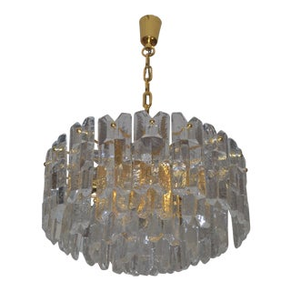 Large Palazzo Flush Mount Ice Glass Chandelier From J. T. Kalmar For Sale