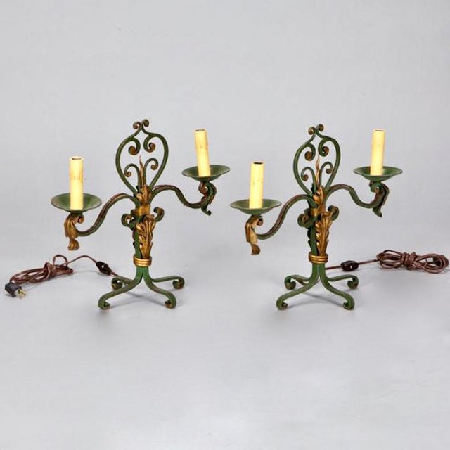 Pair French Gilt Metal Scroll Candelabra Table Lamps For Sale - Image 4 of 4