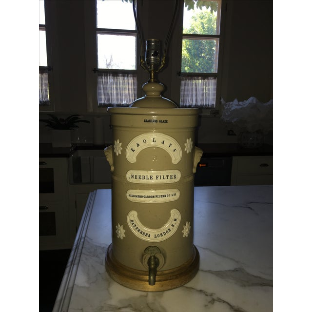 """Antique London Water Filter Lamp / large pottery water crock. Antique Water Filter, marked """"Needle Filter"""" """"London""""..."""