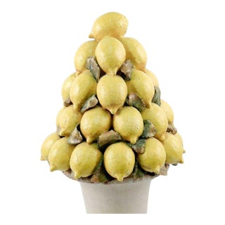 Italian Majolica Lemon Centerpiece For Sale