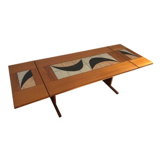 Vintage Mid Century Modern Danish Dining Table W/ Tile Inlay and 2 Extensions. For Sale