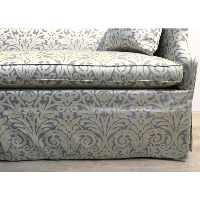 Hickory Chair Furniture Company Hickory Chair Traditional Blue and Silver Damask Sateen Skirted Sofa For Sale - Image 4 of 6