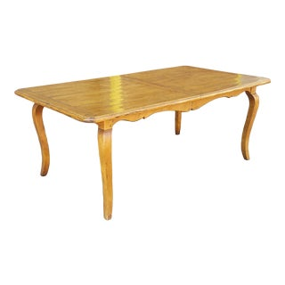 Quality Made Cherry Fruitwood French Country Dining Room Table W/ 1 Leaf For Sale