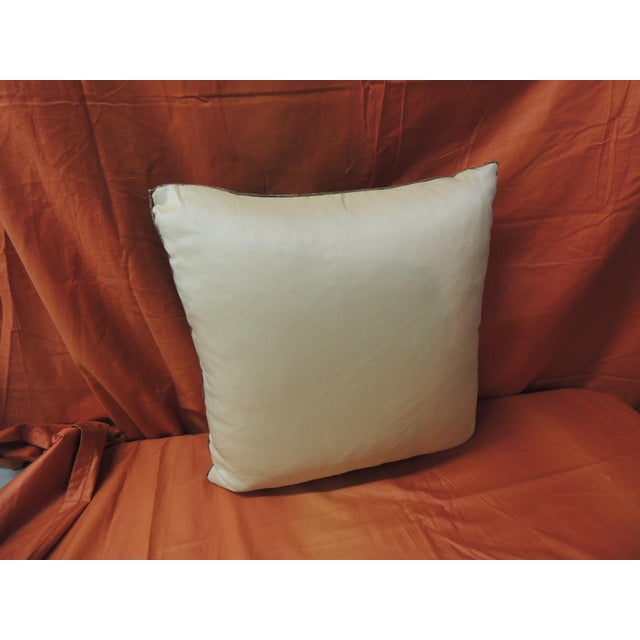 Late 19th Century 19th Century French Silk Brocade Royal Blue Square Decorative Pillow For Sale - Image 5 of 6