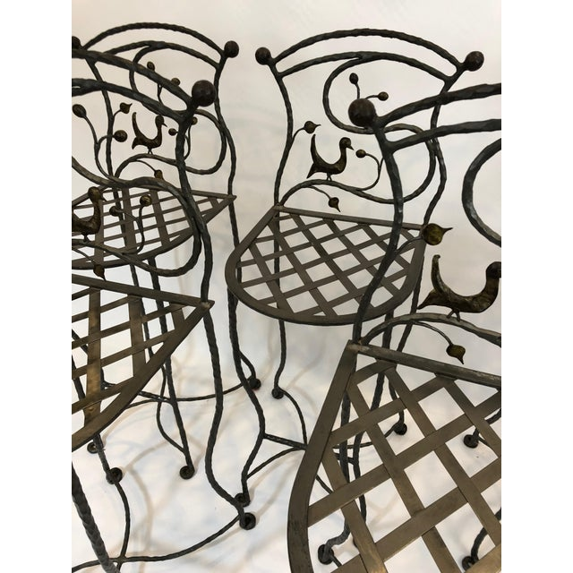 1980s Vintage Giacometti Style Whimsical Hand Forged Iron Counter Stools - Set of 5 For Sale - Image 10 of 11