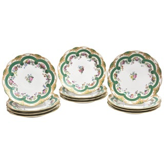 Set of 12 Museum Quality Feuillet Painted Old Paris Porcelain Plates, Circa 1830 For Sale