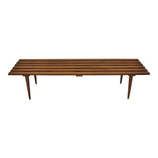 Vintage Mid-Century Modern Walnut Nelson Style Long Slat Bench Coffee Table