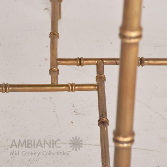 Mexican Modernist Centre Table in Brass, Wood & Malachite, Pepe Mendoza Square For Sale - Image 9 of 11