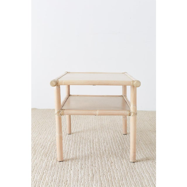 McGuire Bamboo Rattan Two-Tier Cerused Side Table For Sale In San Francisco - Image 6 of 11