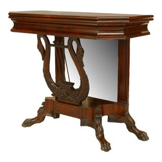 1900s Empire Mahogany Flip Top Console Table For Sale