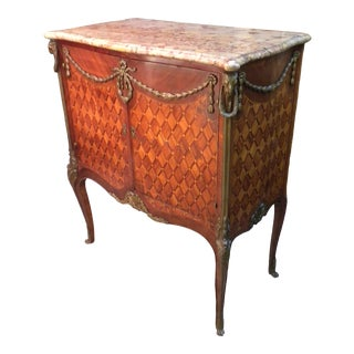 1850's French Marquetry Marble Top Cabinet For Sale