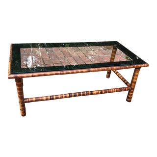 Vintage Palm Beach Chic Tiger Stripe Rattan Coffee Table For Sale