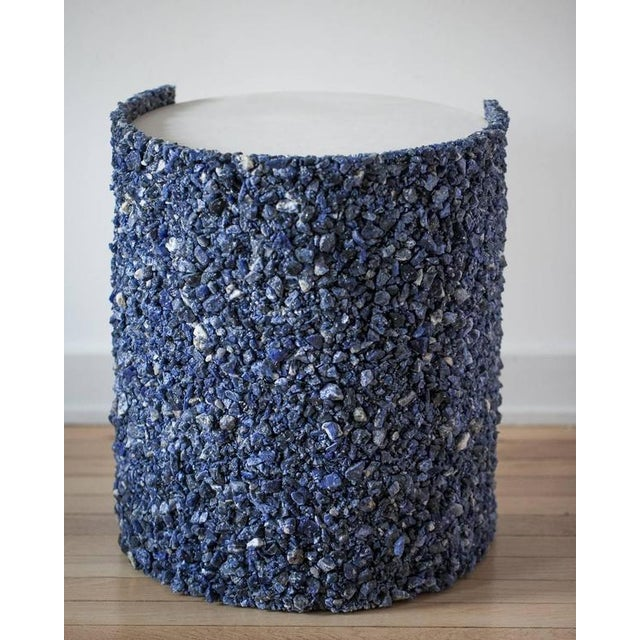 Hand Made Blue Sodalite and White Plaster Drum, Side Table by Samuel Amoia For Sale - Image 4 of 9