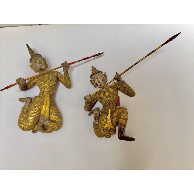 Thai Figures of Siamese Dancers Sculpture Wood With Gold - a Pair For Sale - Image 11 of 11