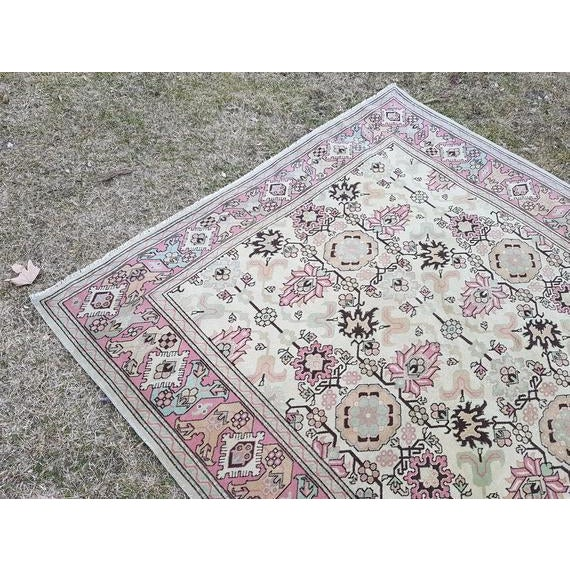 Islamic 1970s Vintage Turkish Oushak Rug - 5′9″ × 5′10″ For Sale - Image 3 of 6