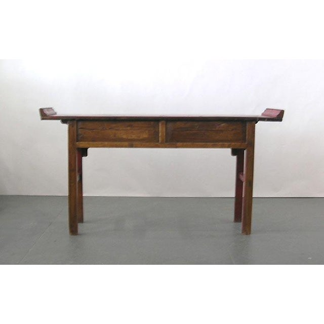 19th Century Chinese Red Lacquer Country-Style Altar Desk/Console Table For Sale In New York - Image 6 of 7