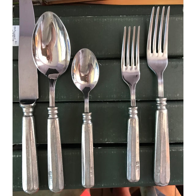 Traditional Williams Sonoma Alton Pewter Flatware - Set of 5 For Sale - Image 3 of 11