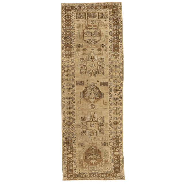 Antique Persian Rug Saisan Style With Unique Geometric Patterns Circa 1950's - 3′ × 8′8″ For Sale
