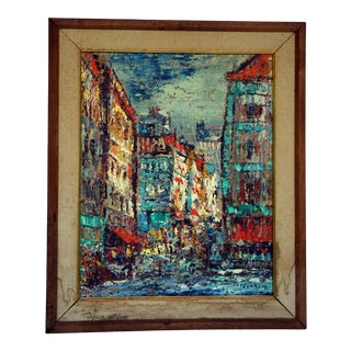 Vintage Mid-Century Modern Cityscape Original Oil on Canvas Painting For Sale