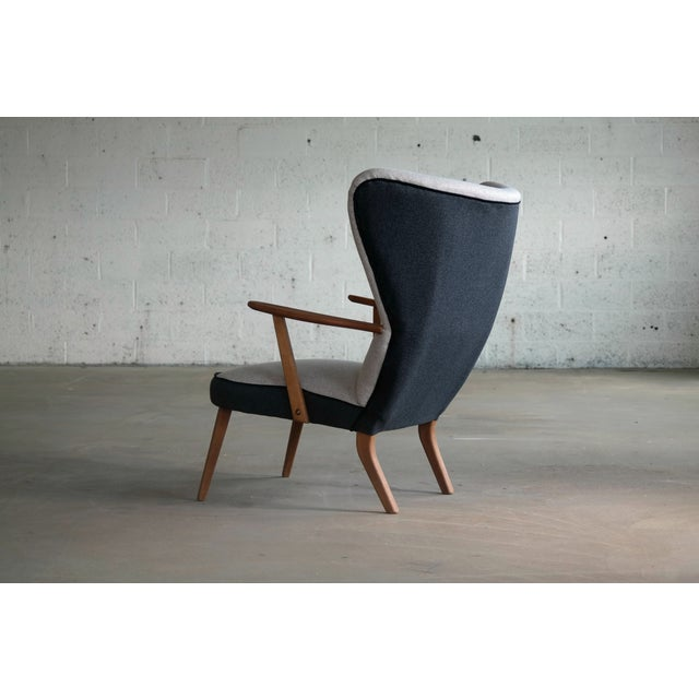 Danish 1950's Lounge Chair Model Pragh With Ottoman by Madsen and Schubell For Sale - Image 11 of 12