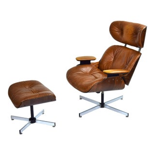Vintage Mid-Century Modern Plycraft Eames Style Lounge Chair and Ottoman For Sale