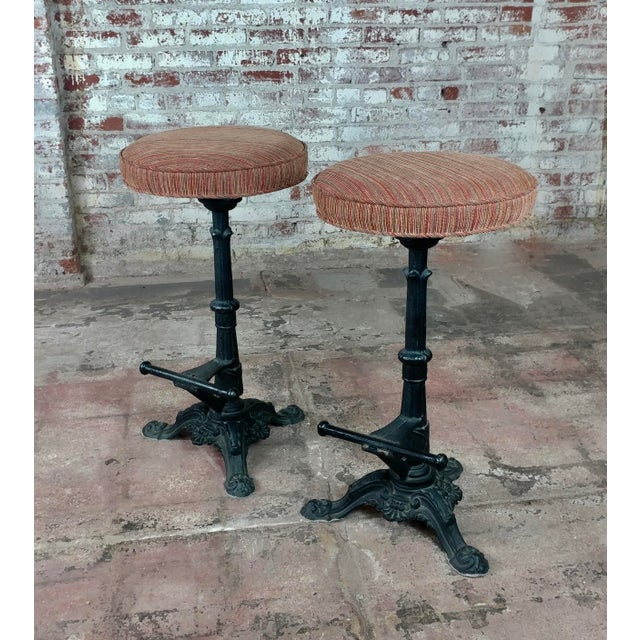 Victorian Cast Iron Bar Stools - a Pair For Sale - Image 9 of 9