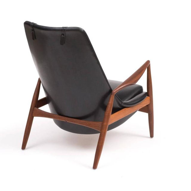 Ib Kofod-Larsen High Back Seal Chair in Teak and Black Leather for OPE, 1960s - Image 4 of 10