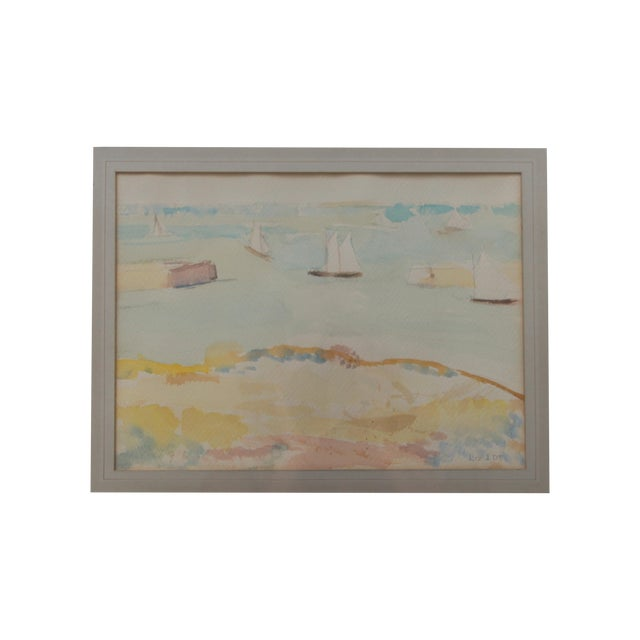 Mid-Century Seascape Watercolor by Liz Ide - Image 3 of 9