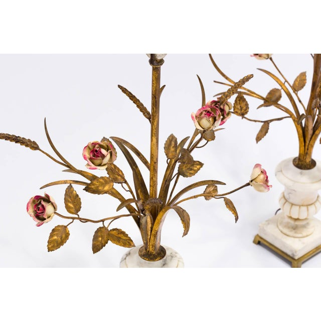 Pair of Italian Marble Urn and Gilded Metal Floral Lamps For Sale - Image 4 of 11