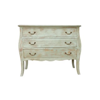 Marcel Three Drawer Wooden Chest for Living Room in Green Wash Finish, Natural Color For Sale