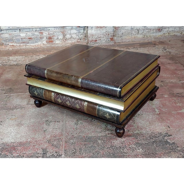 Maitland-Smith Stacked Leather Books Form Coffee Table For Sale - Image 11 of 11