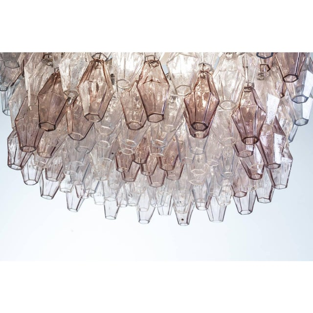 1950s Pair of Carlo Scarpa Extra Large 245 Murano Glass Pieces 'Poliedri' Chandeliers For Sale - Image 5 of 10