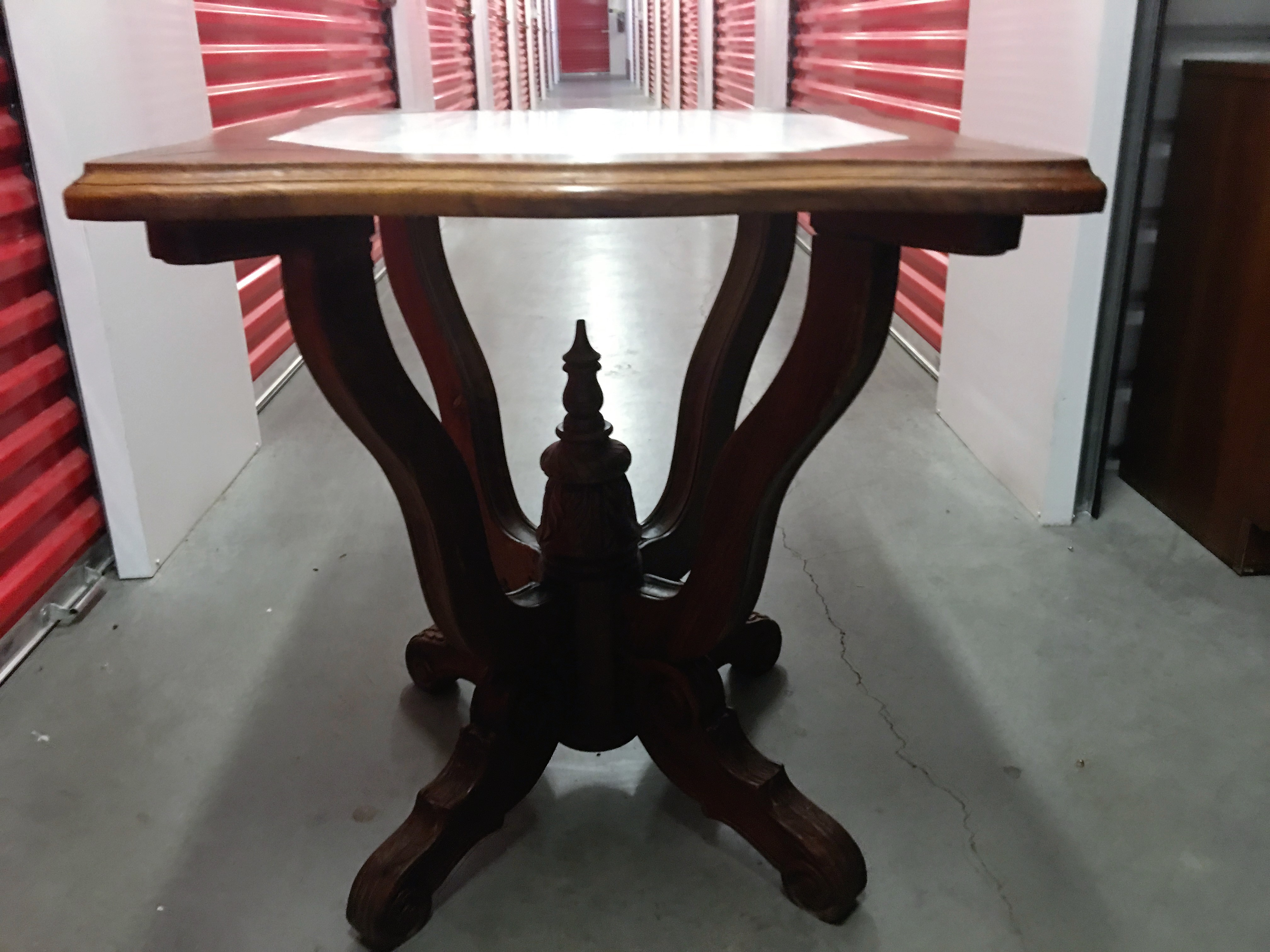 Antique Ornate Carved Entry Table with Marble Top | Chairish