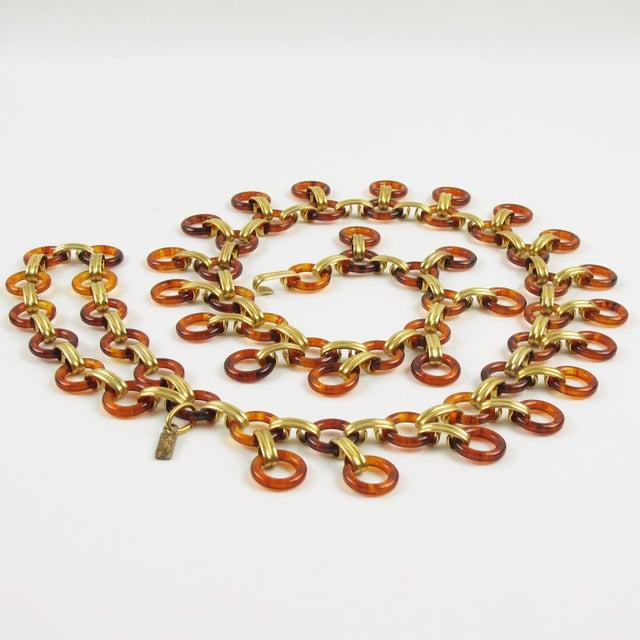 1970s Yves Saint Laurent Paris Tortoise Lucite Brass Necklace Waist or Hip Belt For Sale - Image 5 of 10