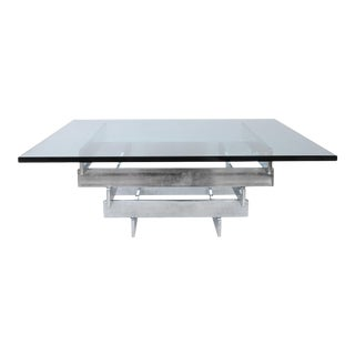 1970s Paul Mayen for Habitat Aluminum and Glass Coffee Table For Sale
