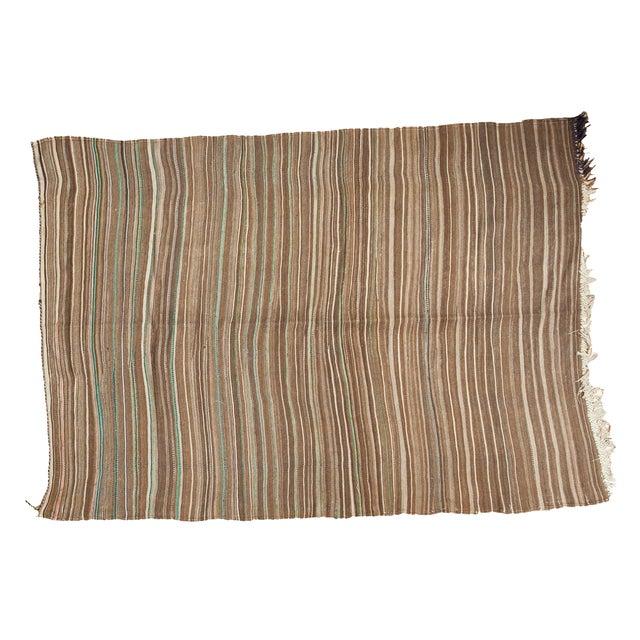 Vintage Moroccan Brown Stripe Kilim Rug - 5' X 7' For Sale