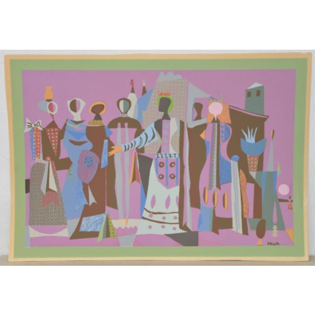 Pink Mid Century Figural Abstract Lithograph by Jean Varda C.1950 For Sale - Image 8 of 8