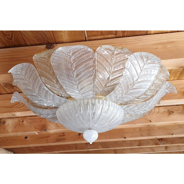 Mid Century Modern translucent clear and gold Leaf Murano glass flush mount lights by Barovier e Toso, Italy circa 1960s....