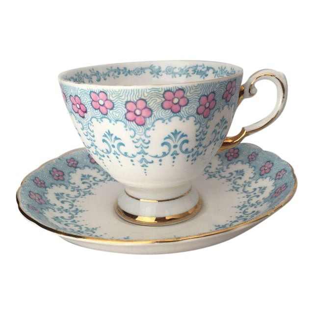 Floral Fine English Blue Bone China Tea Cup & Saucer - Image 1 of 5