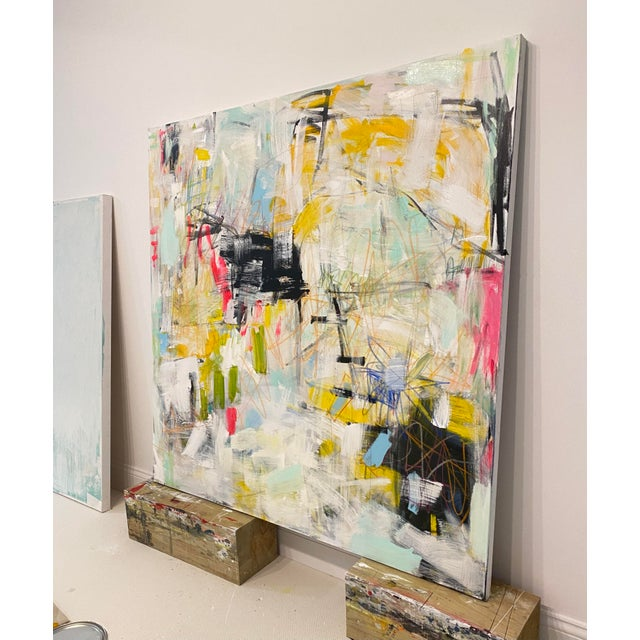 """Sarah Trundle """"Get Outta Town"""" Contemporary Abstract Expressionist Mixed-Media Painting by Sarah Trundle For Sale - Image 4 of 5"""