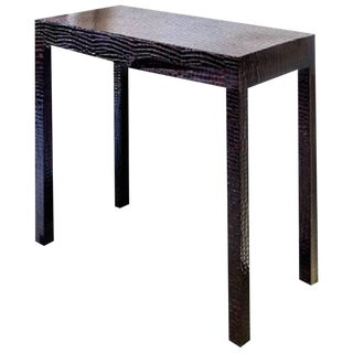 Chocolate Crocodile Print Patent Leather Console Table For Sale