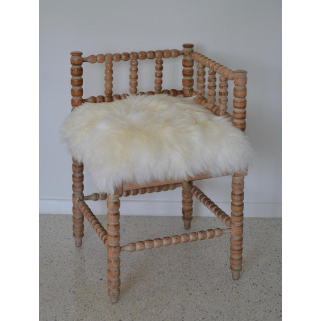Textile Turned Wood Corner Chair For Sale - Image 7 of 13