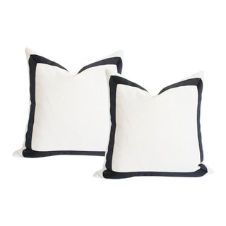 """Solid White With Grosgrain Ribbon Border Pillow Covers - a Pair 17""""sq"""