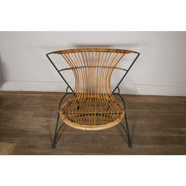Set of 3 Metal and Wicker Slipper Chairs For Sale - Image 4 of 11