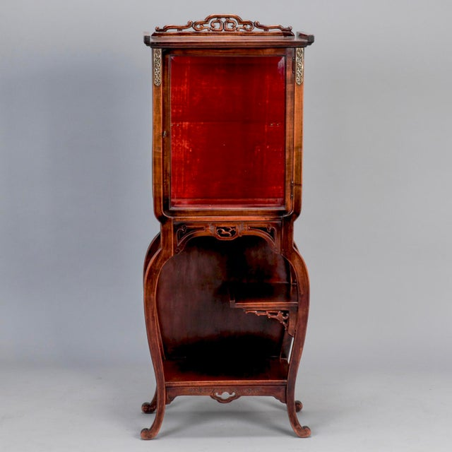 Tall Narrow Chinese Carved Wood Vitrine Display Cabinet For Sale - Image 11 of 11