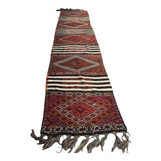 Vintage Embroidered Turkish Kilim Runner Rug -3′1″ × 13′5″ For Sale