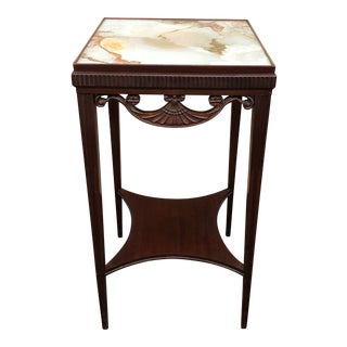 Antique Faux Marble Painted Glass Top Accent Table For Sale