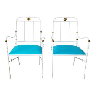 Italian Diego Giacometti Decorative Arm Accent Chairs - a Pair For Sale